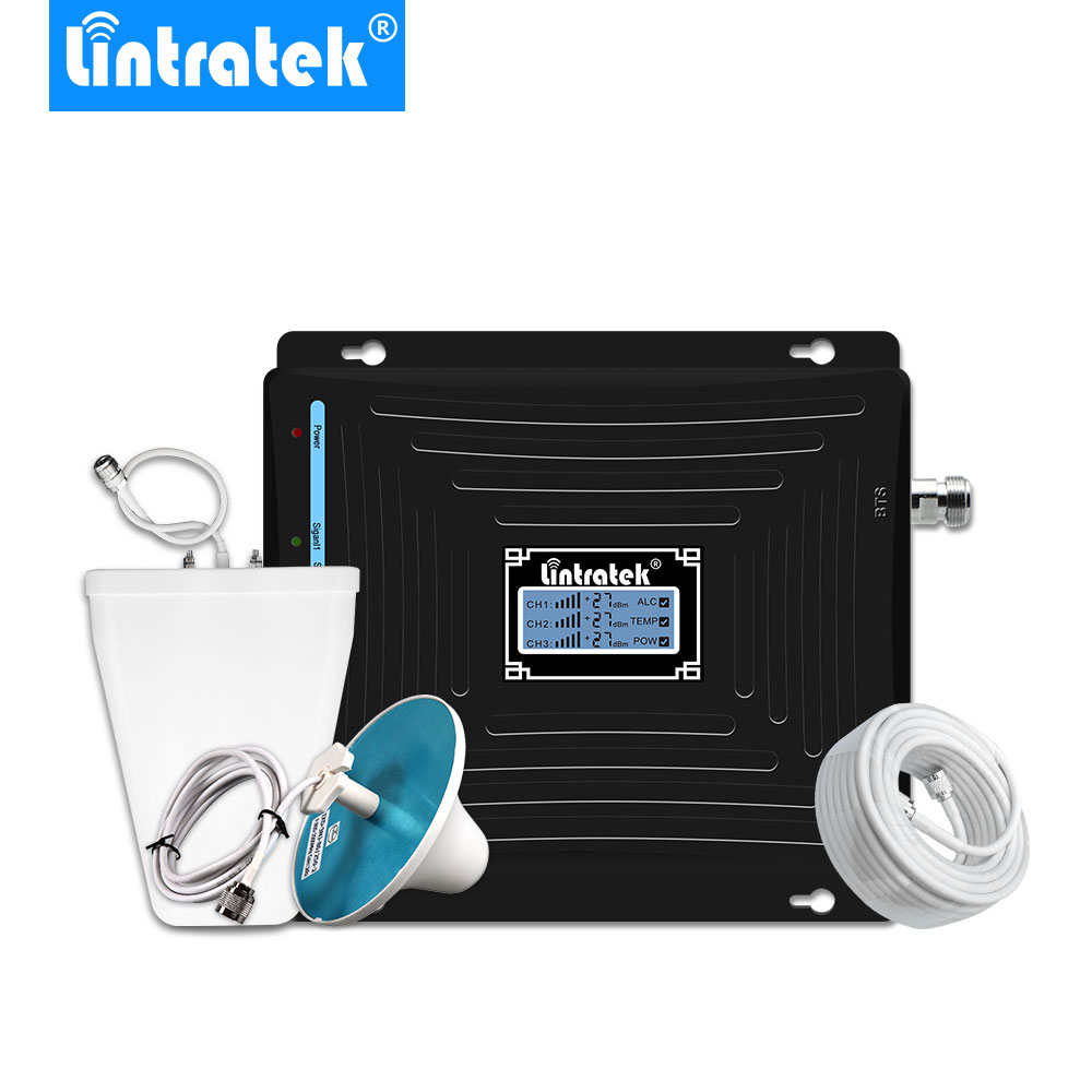 Lintratek Tri Band Cellular Signal Booster GSM 3G UMTS 850mhz 2100mhz 1800mhz 4G LTE Cell Phone Repetidor De Sinal Amplificador-