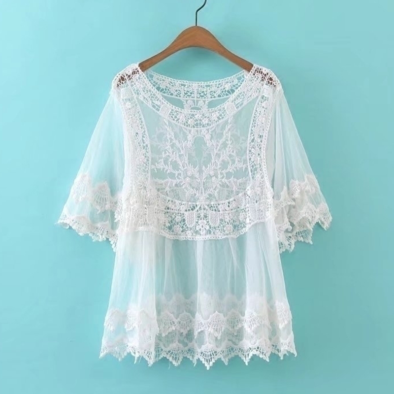 SESOAF Women Chic Vintage Casual Retro Floral Crochet Blouses Fashion Hollow Out Lace Mesh Boho Cover up Tops Crop White Blouses