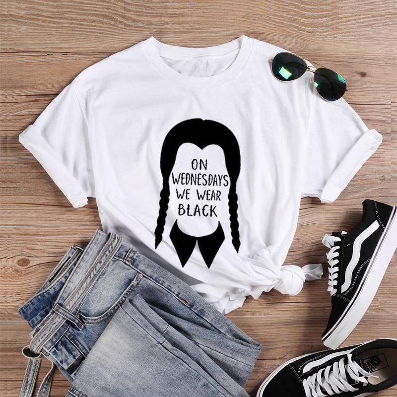 ONSEME Halloween T Shirt Women Cotton Harajuku Melanin On Wednesdays We Wear Black Graphic Tees White T Shirt Vogue Top Q-900