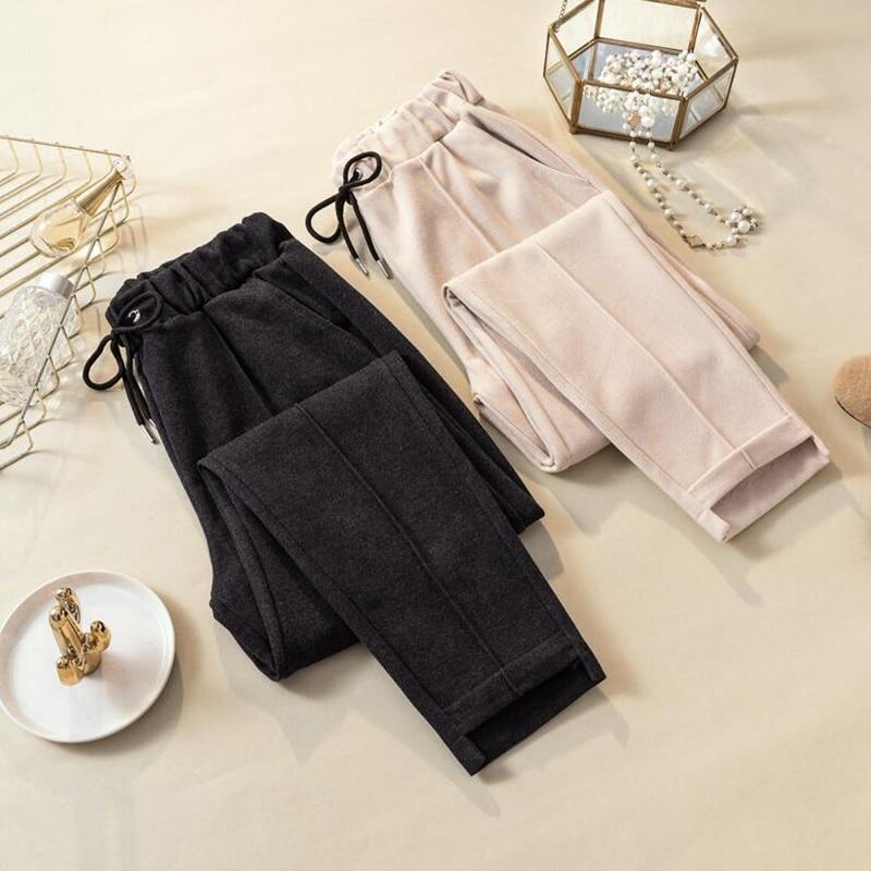 Women Pants Autumn Winter Woolen Harem Pants Elastic High waist Plus Size Casual Trousers Streetwear Black Pants Women Clothing