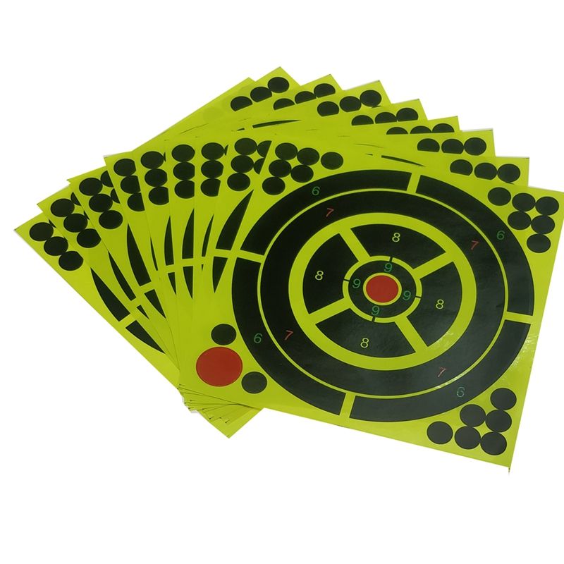 Hot HG-10Pcs/Lot Color Splash Flower Target 8-Inch Adhesive Reactivity Target Stickers For Hunting