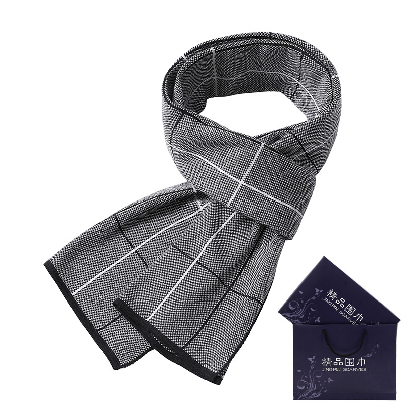 2018 New Style Korean-style MEN'S Scarf Winter Warm Plaid Thick Business Knit Faux Cashmere Scarf Gift Box
