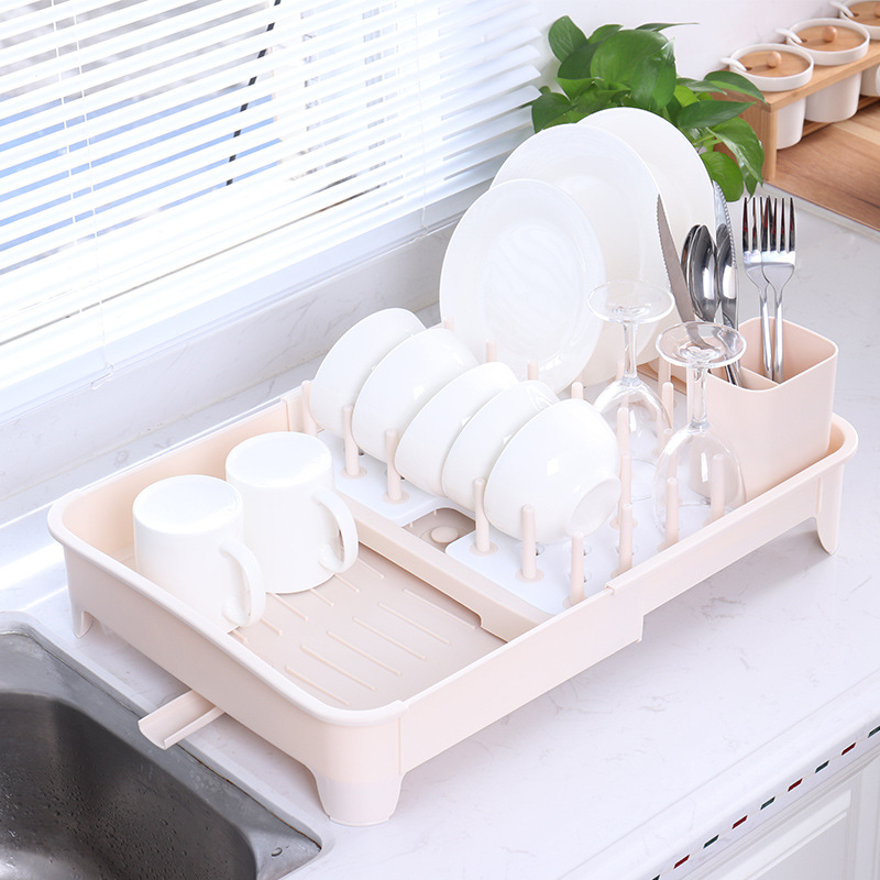 Simple Kitchen Retractable Water Draining Dish Rack Household Double Layer Dripping Storage Rack Multi-functional Tableware Box