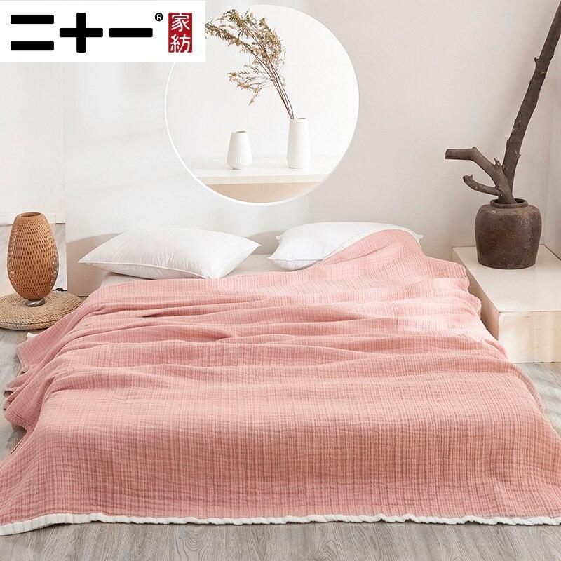 Двадцать один класс полный хлопковый комплект из трех слоев марли Полотенца Стёганое одеяло крашенная в пряже мыть натуральный хлопок ковр...