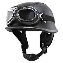 Helmet Scooter Open-Face Vespa Motorcycle Harley Uv-Goggles Cafe Racer Biker-Leather