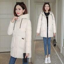 2019 women winter hooded warm coat cotton padded jacket big pockets female long parka