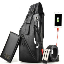 Shoulder Bags USB Charging 3 Pcs/set Men Waist Bag Fashion Heuptas Casual Chest Bag + Wallet + Belt Waist Bag Men Cross Body Bag