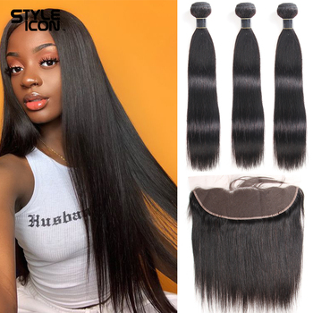 Brazilian Straight Hair Lace Frontal Closure With Bundles Non-Remy Human 3 - discount item  40% OFF Beauty Supply