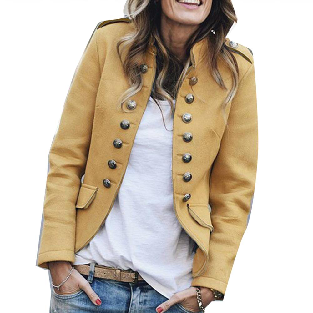 Lady Casual Stand Collar Button Pockets Open Front Long Sleeve Coat Jacket Plus Size Chaqueta Mujer куртка женская