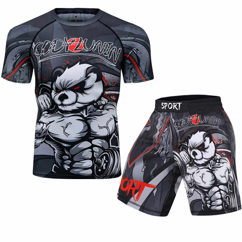 Uomini T shirt + Pants MMA Guantoni Da Boxe Muay Thai Shorts kickboxing vestito Boxeo Fitness vestiti di Sport Jersey Jiu Jitsu T-shirt marca clothi