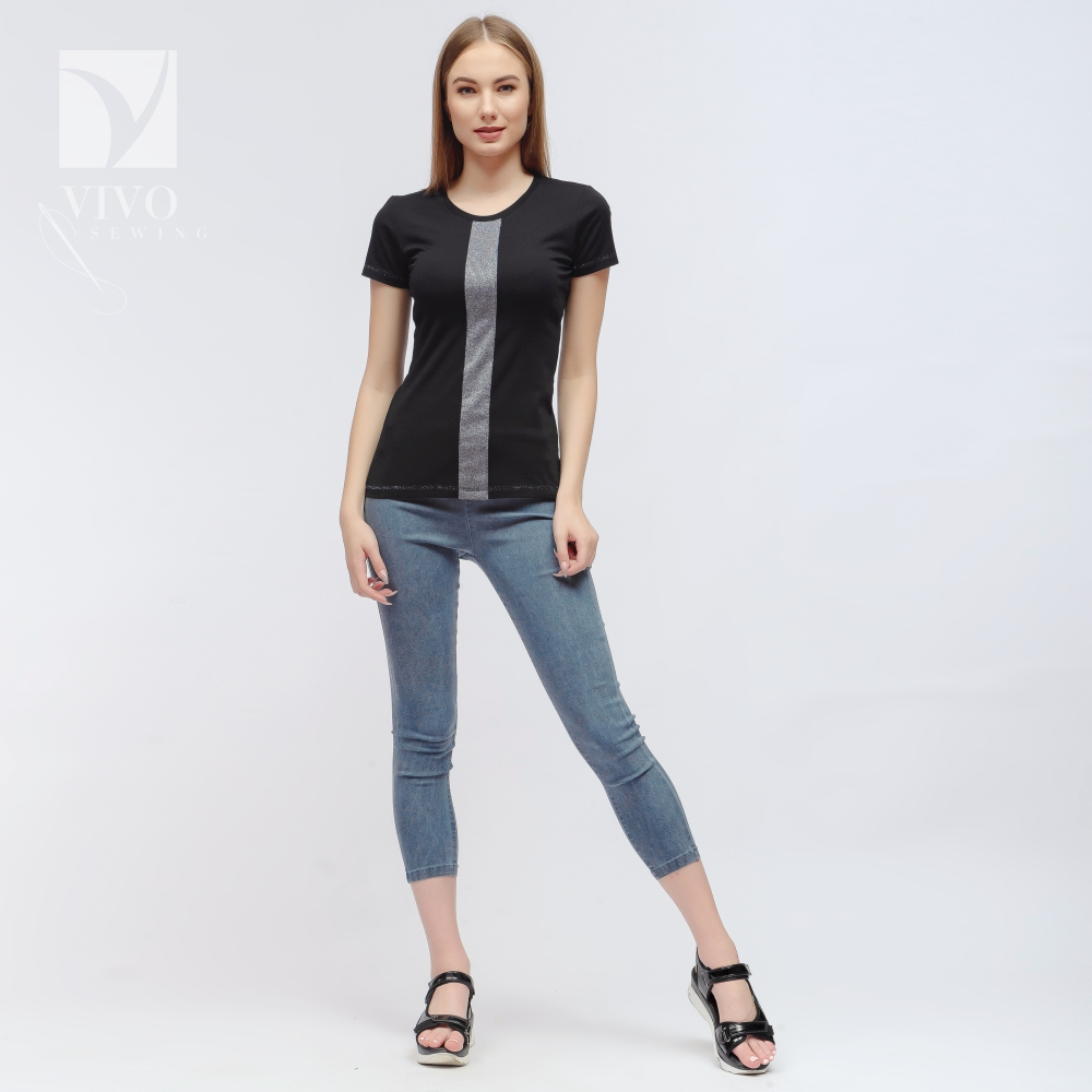T-Shirts Vivostyle 1s243 for women for females clothing top t-shirt with print Viscose Black Casual