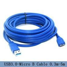 USB 3,0 tipo A de extensión macho A Micro B adaptador de velocidad de transferencia de datos de supervelocidad Cable de 5M
