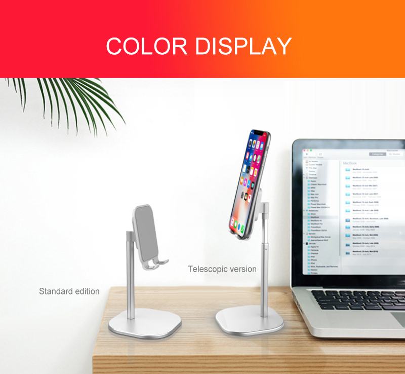 Universal Aluminium Adjustable Stand Desk Holder For Xiaomi Mobile Phone Holder For IPhone Metal Tablets Stand For Ipad Black
