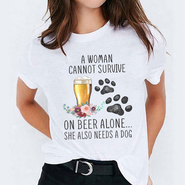 Woman's Cute Dog  Floral Paw/Footprint T-shirt