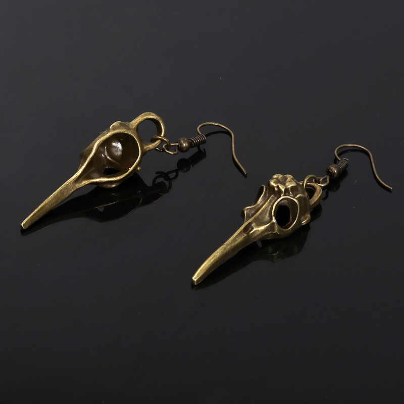 Doreen Box 2019 New Holloween Drop Earrings Bird Skull Pendant Gothic Long Earrings Raven Earrings Accessories Charms,1 Pair