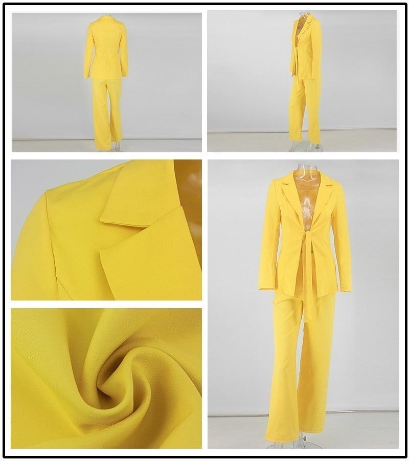 PFFLOOK Work Ol Suit Female Blazer And Pants Suit Set Female Coat V Neck Sexy Chic Suit Women Office Set 2 Pieces Outfits Female 21
