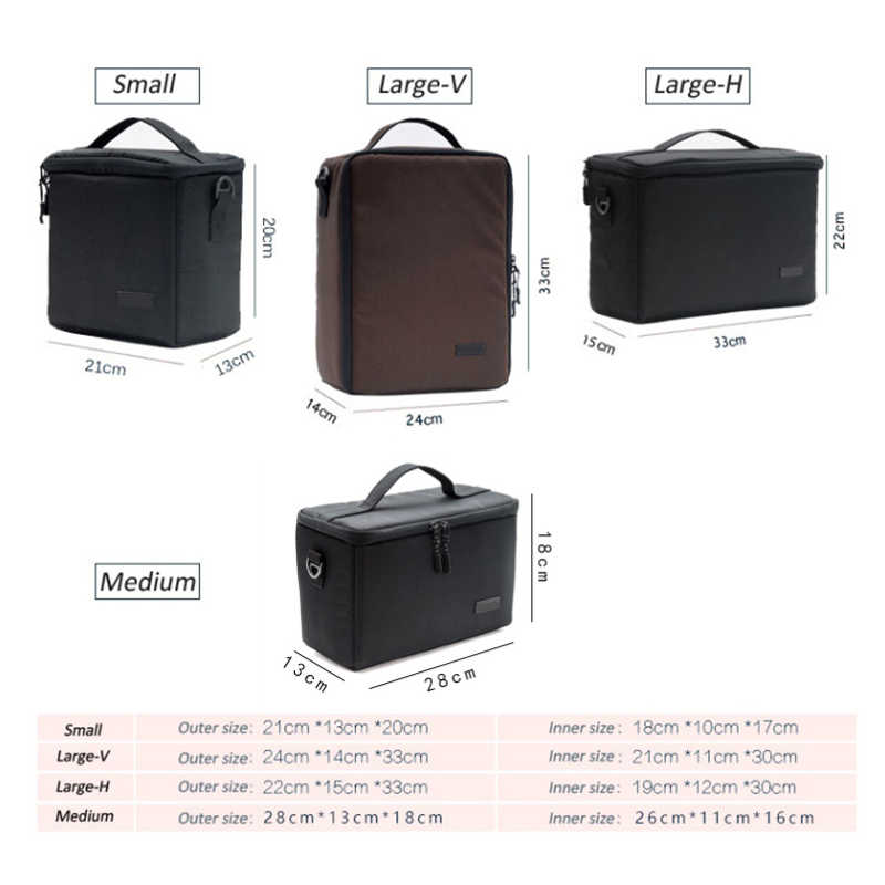 Gran bolso de la cámara insertar partición de funda de transporte para DSLR SLR Canon Nikon Sony Lente