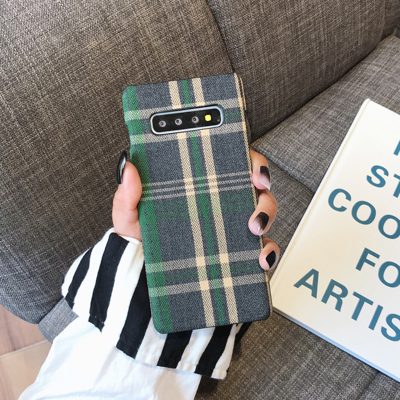 YHBBCASES Retro England Tweed Plaid Fabric Hard Cases For Samsung Note 10 Plus Note 8 9 YHBBCASES Retro England Tweed Plaid Fabric Hard Cases For Samsung Note 10 Plus Note 8 9 Grid Cloth Texture Phone Cover For Samsung Galaxy S10 S8 S9 Plus Winter Warm Checkered Couples Phone Case