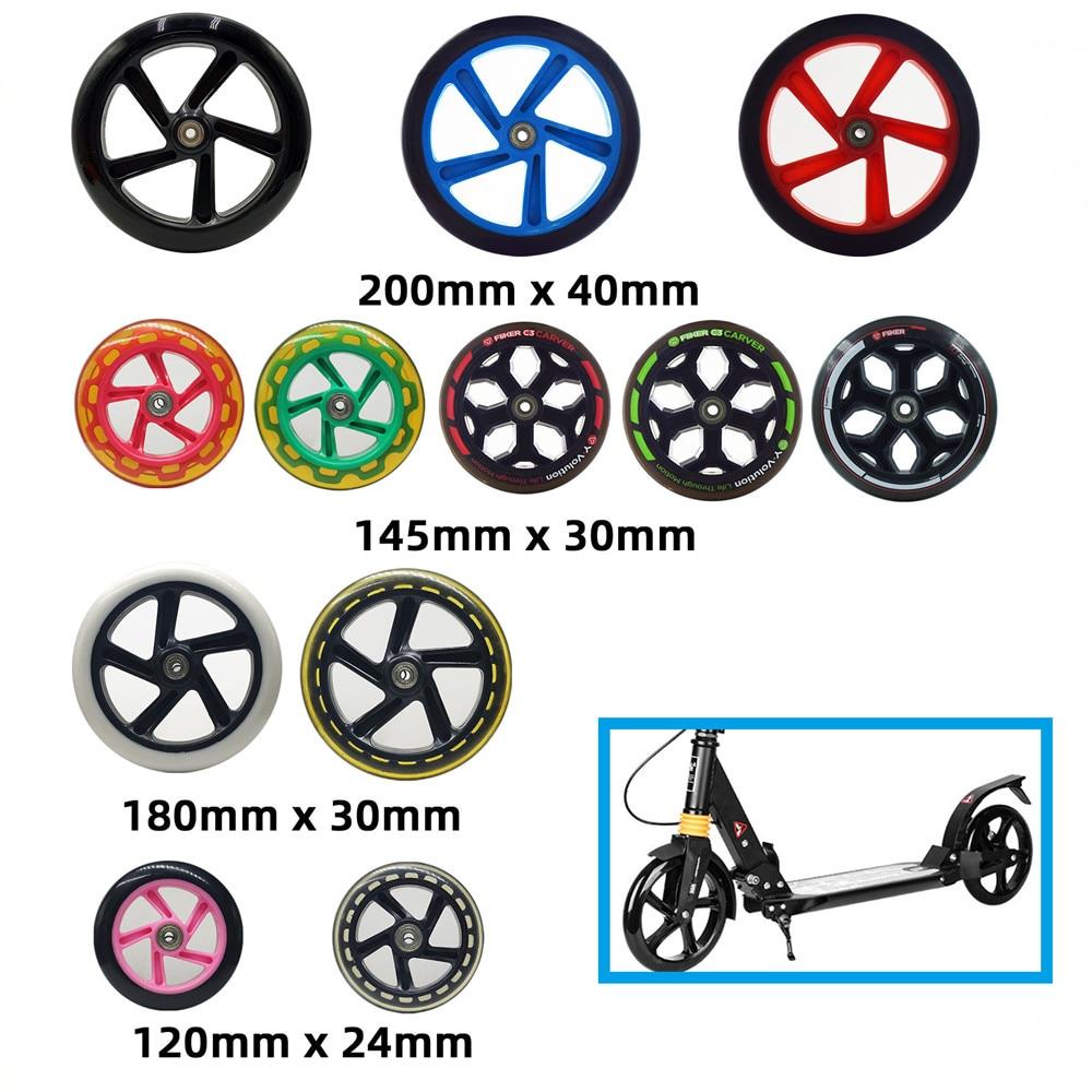 1 peça 200mm 180mm 175mm 145mm 120mm 40mm 30mm 24mm scooter roda skate durável do plutônio do pneu com rolamento abec7