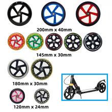Patinete scooter 200mm 180mm 175mm 145mm 40mm 30mm 24mm, 1 peça rodas de skate pu duráveis com rolamento abec7