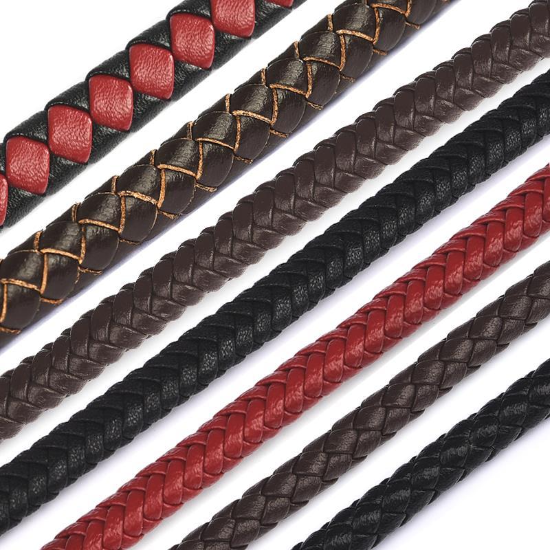 1m yuvarlak örgülü hakiki deri kordon 4/6/7mm siyah/kahverengi takı kordon dize halat DIY deri bilezik yapımı takı bulma