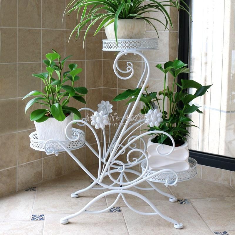 Creative Flower Shelf Indoor Special Offer Provincial Space Wrought Iron Balcony Living Room Hanging Orchid Floor Standing Rack