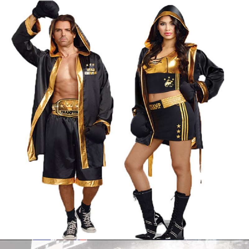 Halloween Carnival Cosplay Boxing Costume Adult Champion Boxer Robe With Gold Belt Suits Cosplay Cool Style Boxing Match Uniform