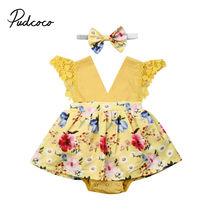Брендовое боди для новорожденных девочек+ повязка на голову Юбка комбинезон с v-образным вырезом комплект одежды из 2 предметов, желтый цвет