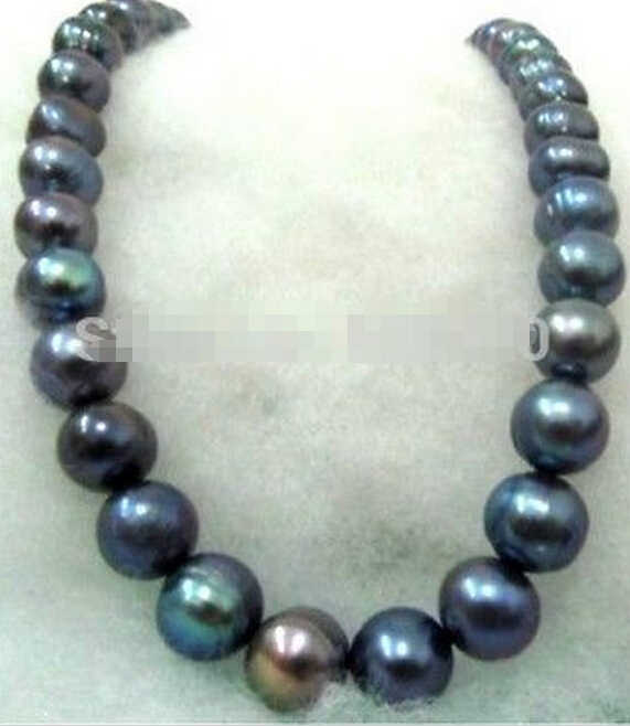 1003 + благородное 17 &quot12 13 мм натуральное tahitian Павлин зеленое жемчужное ожерелье
