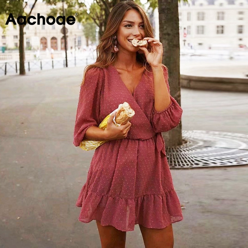 2020 Spring Sweet Women Pink Mini Dress Three Quarter Puff Sleeve V Neck Ruffles Lace Chiffon Dress Ladies Party Dresses Vestido image