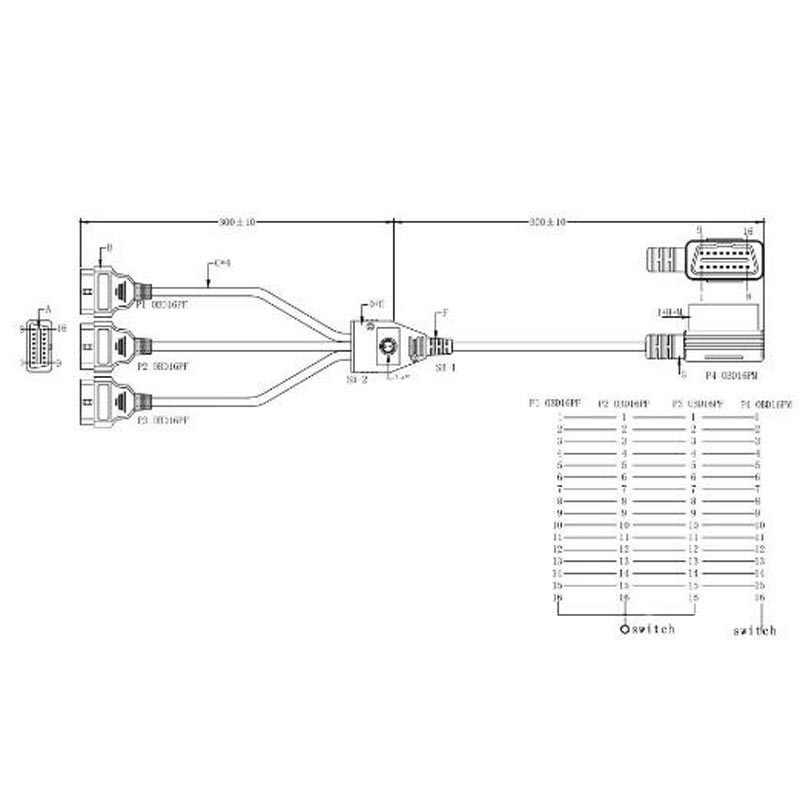 Đỏ Điện SwitchOBDII 16Pin OBD OBD2 16 Pin 1 trong 3 Chẩn Đoán Nối Dài CỔNG OBD 2 Dây Cáp Cho HUD Headup Màn Hình Hiển Thị với ELM 327