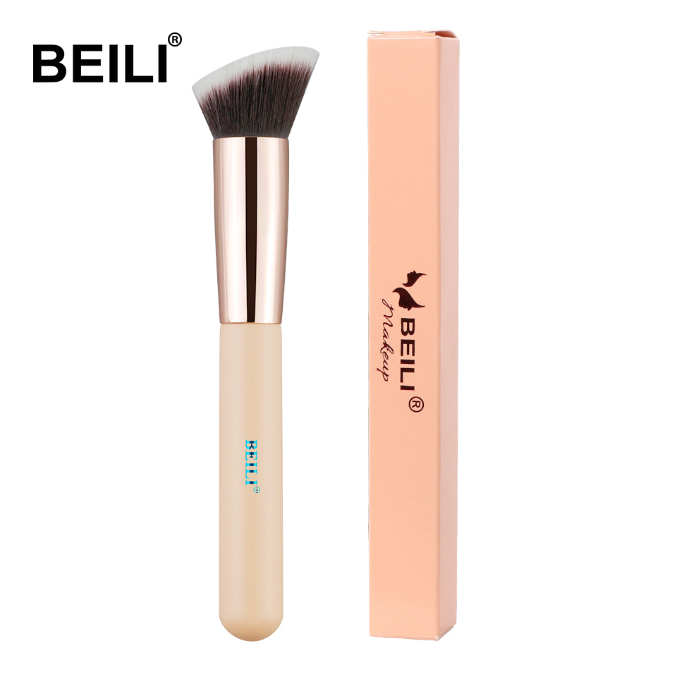 BEILI Foundation Flat Contour Cream Powder Blush Face Shape Single Synthetic Hair Black Makeup Brushes