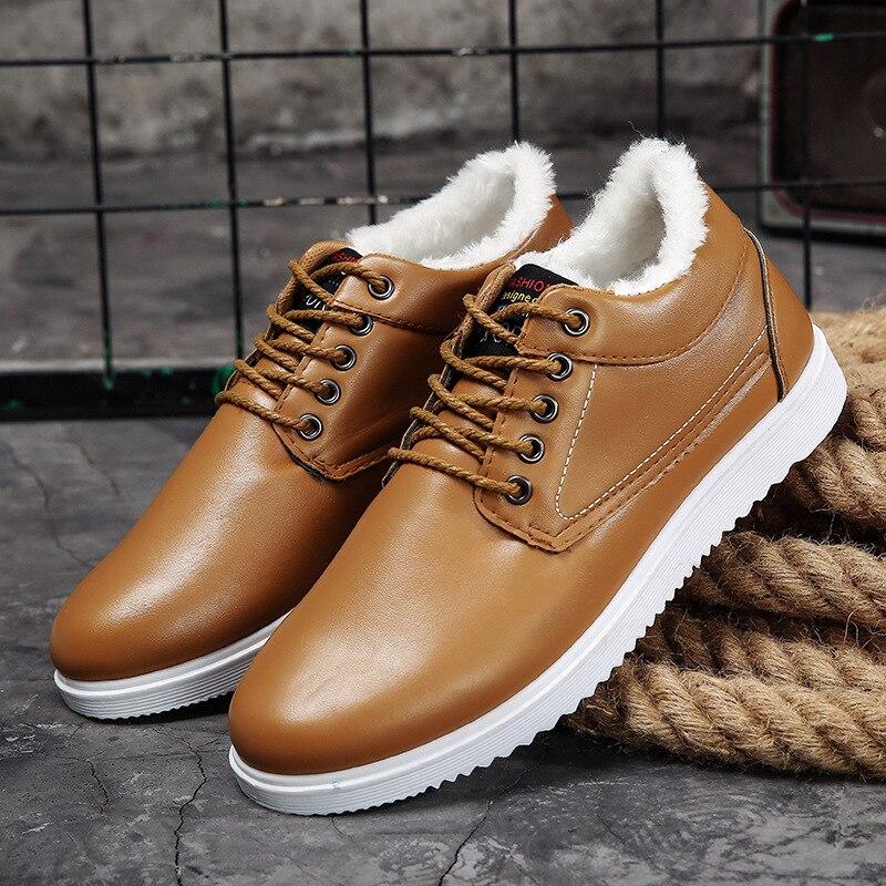 Warm Boots Footwear Casual-Shoes Men Winter Fashion Plush Ankle Fur