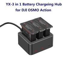 YX – chargeur 3 en 1 USB type c, boîtier de charge de batterie, adaptateur Portable pour DJI OSMO Action Sport, accessoires dappareil photo