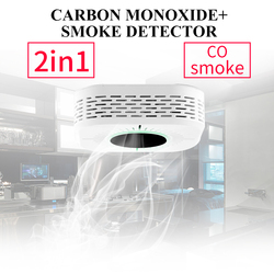 Najnowszy 2 w 1 CO tlenek węgla czujniki i detektor dymu czujnik przeciwpożarowy CO detektor zatrucia węglowego