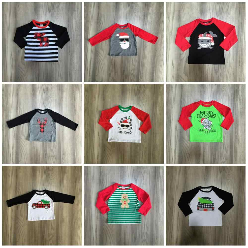fall/winter Christmas baby boy's shark deer Santa Lebkuchen cotton boutique top T-shirt raglans children clothes long sleeve