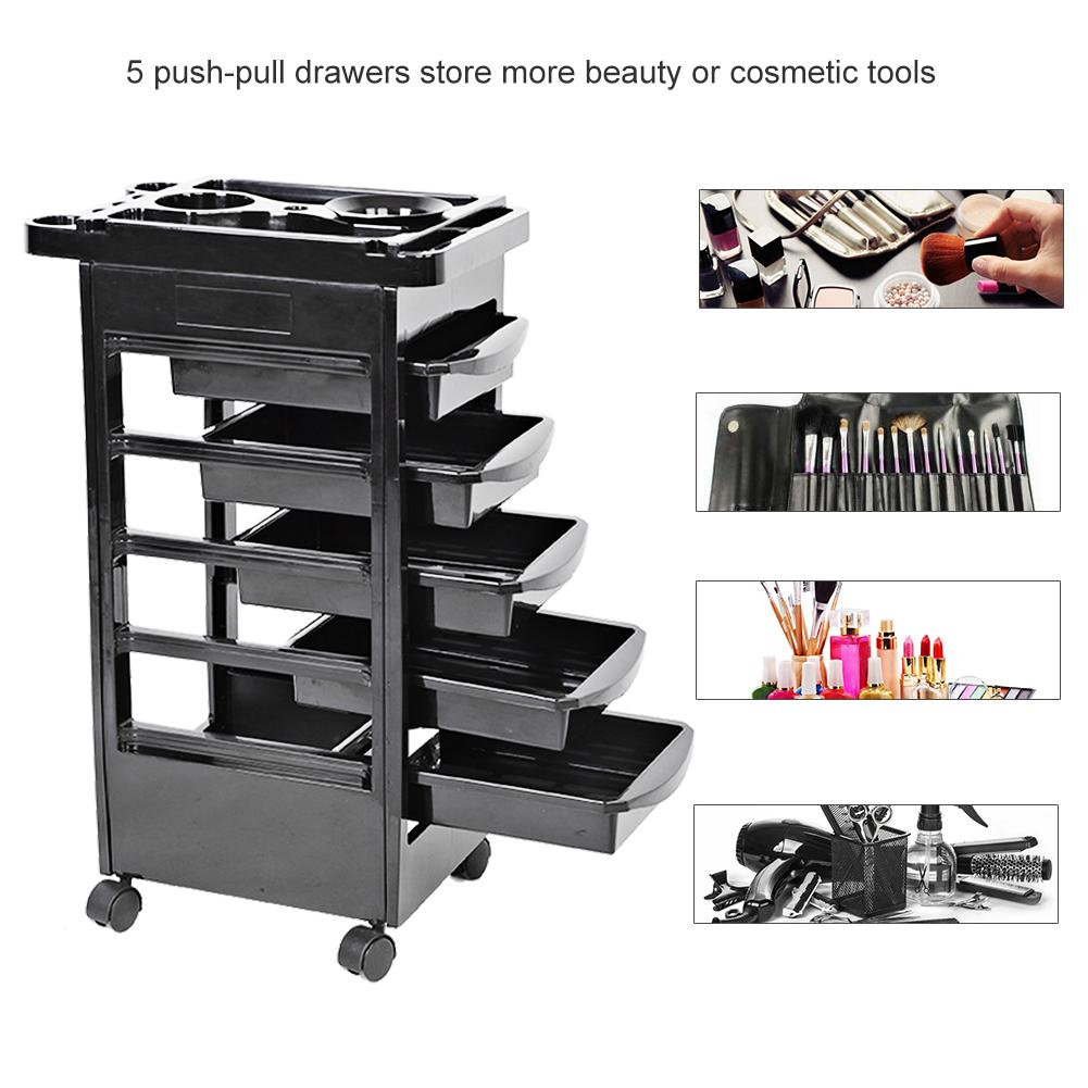 High Quality Salon Cart Salon Trolley 5 Drawers Hair Beauty Salon Furniture Carts Rolling Storage Cart Adjustable Height Trolley
