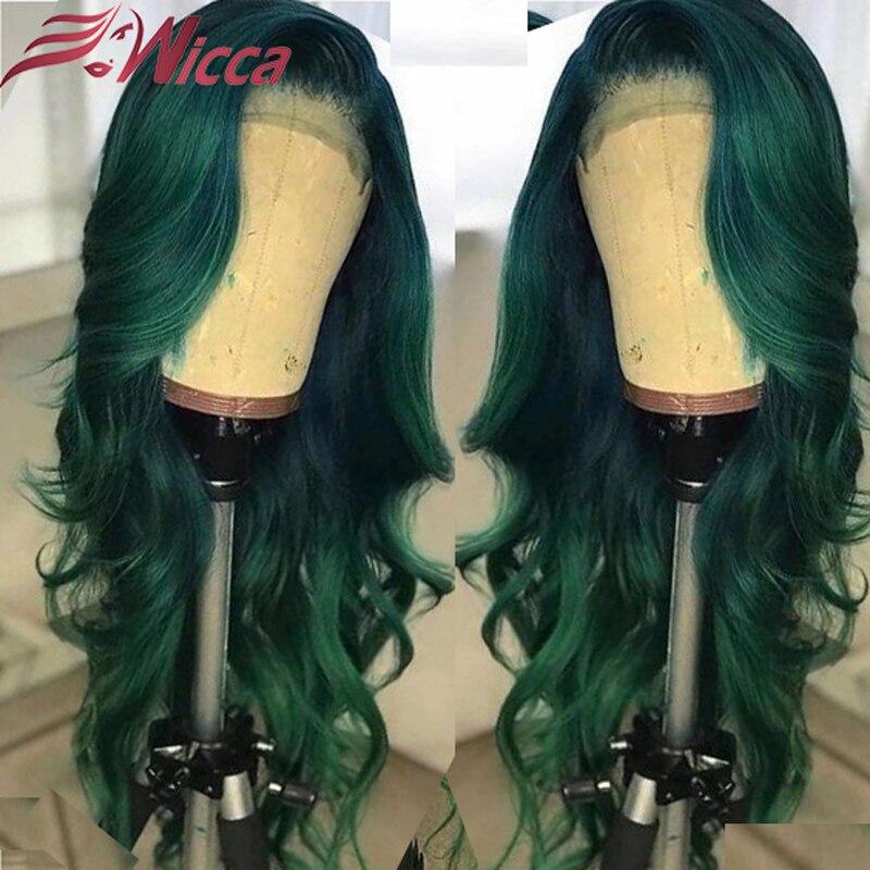 13X6 кружево спереди 200 плотность человеческих волос парики для женщин Омбре зеленый Бразильский объемная волна Remy 360 кружева с волосами млад...