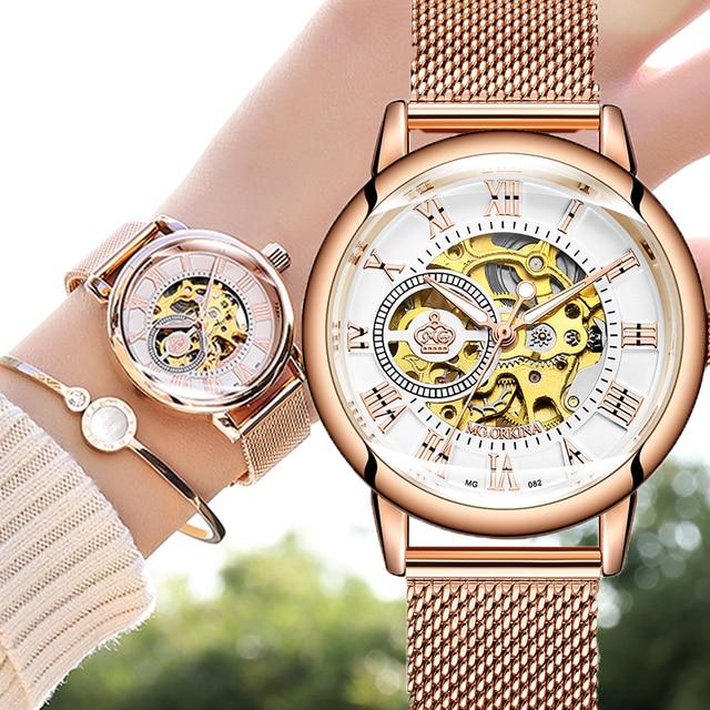 ローズゴールド女性の自動機械式スケルトン腕時計メッシュステンレス鋼ファッションカジュアル女性腕時計ギフト女性のための