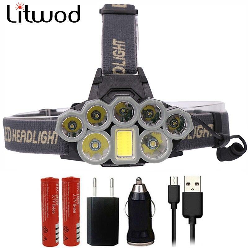 Z20 Litwod 4108 Led Scheinwerfer Micro USB Ladegerät Scheinwerfer 2 * T6 + 5 * XPE + COB Taschenlampe Tragbare licht Kopf Lampe Laterne für camping