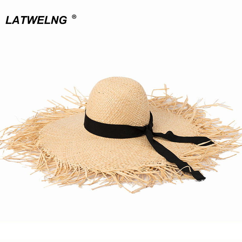 New Women Oversized Brim Raffia Beach Hat Bow Summer Sun UV Hats Holiday Big Cap Wholesale