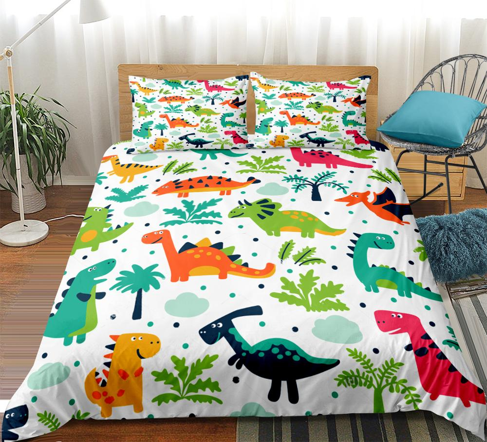 3D Dinosaur Park Print Bedding Set Cartoon Animals Duvet Cover Set Bedclothes With Pillowcase Bed Set Home Textiles