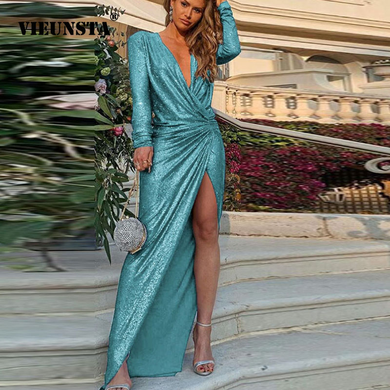 Sexy Wrap V-neck Bright Silk Shiny Dress Women High Slit Peplum Bodycon Dress Autumn Long Sleeve Elegant Maxi Dress Dropshipping