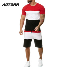 Summer 2 Pieces Tracksuit Sets Men Tshirt +Shorts Patchwork Set Male Casual Sportswear Jogger Streetwear Tracksuit Mens Clothing