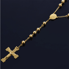 Christian Jesus Single Titanium Cross Necklace Stainless Steel Gold Silver Prayer Long Bead Cross Pendants Men Jewelry(China)