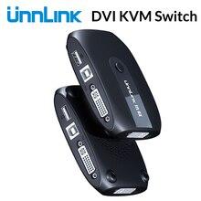 Unnlink 2X1 DVI KVM переключатель коробка селектор переключатель DVI 2 в 1 выход Обмен USB 2,0 монитор мышь Клавиатура для 2 компьютера Ноутбуки ПК