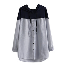 Clothing Hooded-Shirts Blouses Tops Oversize Women Ladies Autumn Long Splice A33 Loose