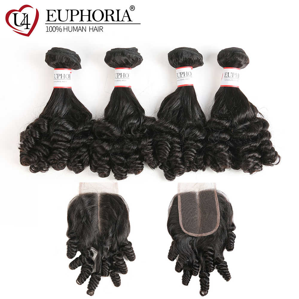 Brazilian Funmi Curly 3/4 Bundles With Lace Closure EUPHORIA Natural Color 100% Remy Human Hair Weaves Extensions With Closures