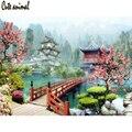5D DIY Алмазная картина Алмазная вышивка японский сад дом озеро пейзаж Картина Стразы Алмазная мозаика для украшения подарок