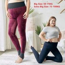 Wysokiej jakości zimowe legginsy damskie wysoki elastyczny gruby polar ciepłe Legging Plus rozmiar Velet spodnie duże rozmiary spodnie slim 135KG